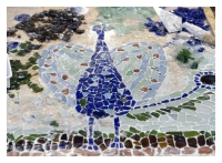 Peacock. Tumbled Glass Mosaic. Mounting process.